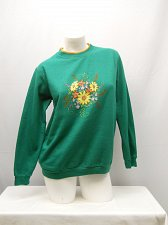 Buy Womens Sweatshirt SIZE M Green Floral Long Sleeves Crewneck