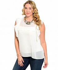 Buy PLUS SIZE 2XL Womens Sheer Top C.O.C. Solid White Pleated Ruffles Sleeveless