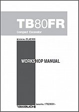 Buy Takeuchi TB80FR Compact Excavator Service Workshop Manual on a CD TB 80 FR TB80