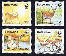 Buy BOTSWANA Scott 432-35-1988 WWF SET OF 4 RED LECHWE ANTELOPES THEMATIC FAUNA