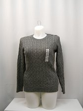 Buy PLUS SIZE 0X Sweater CHARTER CLUB Gray Long Sleeves Crew Neck 3 Button Shoulder