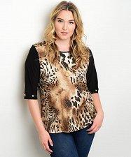 Buy Women Tunic Knit Top PLUS SIZE 1XL 3XL ESSENTIAL Glitter Brown Animal Print