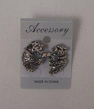 Buy Women Fashion Stud Earrings Silver Tones Leopards Rhinestones Unbranded Push Bac