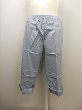 Buy SIZE 20 Women Cotton Capris Solid Blue Side Pockets Inseam 20 Elastic Waist