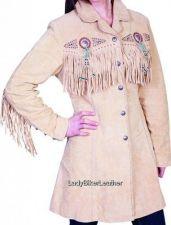 Buy Ladies BEADED Cream SUEDE Leather WESTERN FRINGE 3/4 Length COAT Jacket CONCHOS