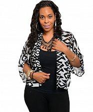 Buy Womens Bolero Sheer Swing Wrap Top PLUS SIZE 1XL Chiffon Black White Geometric