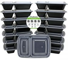 Buy Freshware 15-Pack 2 Compartment Bento Lunch Boxes With Lids - Stackable, and -
