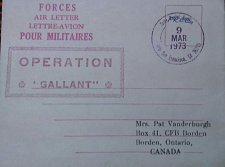 Buy Canada 1973 Pour Militaires Used Operation Gallant Forces Air Letter