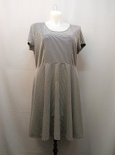 Buy PLUS SIZE 1X Full Skirt Dress NY COLLECTION Striped Short Sleeves Scoop Neck