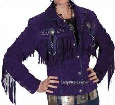 Buy LADIES Beaded WESTERN Fringe PURPLE or TEAL Soft SUEDE Leather Jacket CONCHOS