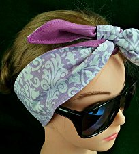 Buy Headband hair wraptie bandana purple and white filigree 100% Cotton hand made