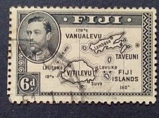 Buy Fiji 1v used 1940 Fine Used King George VI - Local Motifs 180 Degree