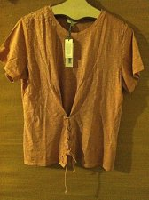 Buy Lucky Brand Women`s XL Style 7W63658 Washed Lace Corset Tee Blush Pink