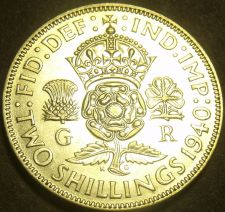 Buy Great Britain 1940 2 Shillings Silver Unc~Crowned Tudor Rose~Thistle~Free Ship