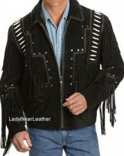 Buy Mens Biker WESTERN FRINGE Black OR Brown BONED BEADED Suede LEATHER Jacket STUDS