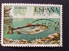 Buy Spain 1 v used stamp 1977 Brown Trout (Salmo trutta) mi 2290