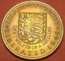 Buy Large Jersey 1945 1/12th Shilling~Gem Unc~Liberation Commemorative~Free Shipping