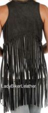 Buy Ladies BIKER Cream OR Black FAUX Suede Leather CROPPED Long Fringe HIPSTER Vest