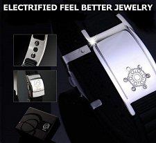 Buy ELECTRIFIED FEEL BETTER EJNP-D003 Silicone & Steel Bracelet with 6 Zircon Stones