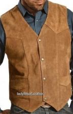 Buy Mens Biker BROWN or BLACK Soft PREMIUM Suede Leather WESTERN CUT Motorcycle VEST