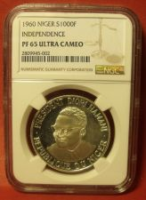 Buy Niger 1960 Silver 1000 Francs~RARE~Independence~NGC PF-65 Ultra Cameo~Free Ship