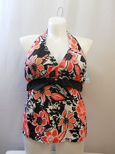 Buy SIZE 20 Women Tankini Halter Swim Top SHORE CLUB Rosewood Floral Wire Free