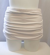 Buy SIZE 16 Women Shirred Swim Skirt SWIM SEXY Solid White Elastic Built In Brief