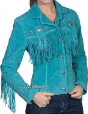 Buy LADIES Beaded WESTERN Fringe RED/TURQUOISE Premium SUEDE Leather Jacket CONCHOS