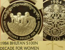 Buy Bhutan 1984 Silver 100 Ngultrum NGC PF-69 UC~Decade For Women~Rare~1.050 Minted~