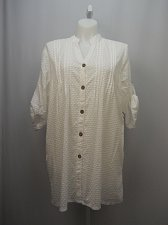 Buy SIZE 18/20 Women Large Shirt Cover Up SWIMSUITS FOR ALL Solid White Swiss Dot