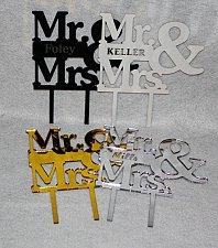 "Buy Mr & Mrs Cake Topper - 1/8"" Acrylic - Engagement- Wedding- Free Engraving"