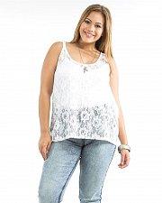 Buy Women Sheer Top Plus Size 1X 2X Soild White Lace Front Sleeveless Scoop Neck
