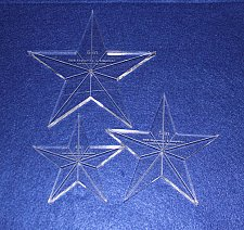 """Buy 3 Piece Set Quilt Stars 3/8 """" 4"""",5"""",6"""" with Center Hole & Guidelines-Longarm"""