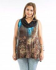 Buy Womens Knit Tunic Top Blue Paisley Animal Cowl Neck Sleeveless SIZE 1X 2X 3X