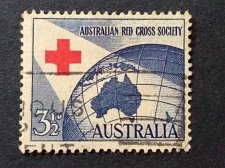 Buy Australia 1954 Red Cross 3.5d, commercially used with cancellation