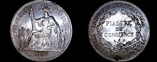 Buy 1909-A French Indo-China 1 Piastre World Silver Coin - Vietnam