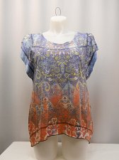 Buy Women Top Plus Size 0X STYLE&CO Embellished Paisley Batwing Sleeves Asymmetrical