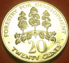 Buy Rare Proof Jamaica 1980 20 Cents~Only 2,688 Minted~Mahoe Tree~Free Shipping