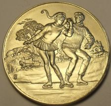 Buy Gem Unc Franklin Mint Christmas Ice Skating Duet Medallion~Awesome~Free Ship