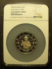 Buy Rare Uganda 1970 25 Shillings NGC PF-67 UC~Highest~Pope Paul VI Visit~Oversize
