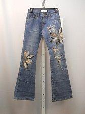 Buy Women Jeans Size 1-2 MILANO MODA Boot Cut Legs Stonewashed Embellished 26X33