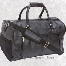 "Buy Black 17"" Faux Leather Tote Bag Carry On Luggage with Zippered Closure Overnight"