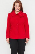 Buy Women Peacoat Size 1XL 2XL 3XL NARANKA Solid Red Front Bow Button Down Collared