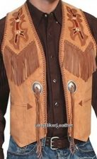 Buy Mens BLACK or BOURBON Premium SUEDE Leather LACED Bead Trim WESTERN FRINGE Vest