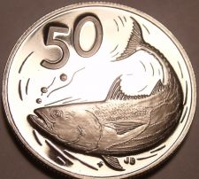 Buy Large Proof Cook Islands 1976 50 Cents~Only 18,000 Minted~Bonito Fish~Free Ship