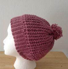 Buy Handmade Dusty Rose Ripple Pom Pom Hat