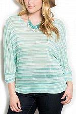 Buy PLUS SIZE 1XL 2XL 3XL Womens Crochet Top ZENOBIA Sheer Mint Striped Dolman Sleev