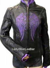 Buy Ladies BIKER Leather MOTORCYCLE Jacket PURPLE-PINK-BLACK Embroidered Wing HOODIE