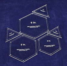 """Buy 6 Piece Set Hexagons & Equilateral Triangles 1/8""""- Quilting Templates"""