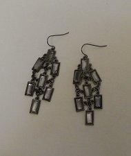 Buy Women Fashion Drop Dangle Earrings Black Tones Rhinestones BODY CENTRAL Hook